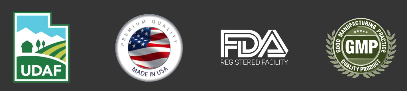 UDAF Registered, Made in USA, FDA Registered, cGMP Certified
